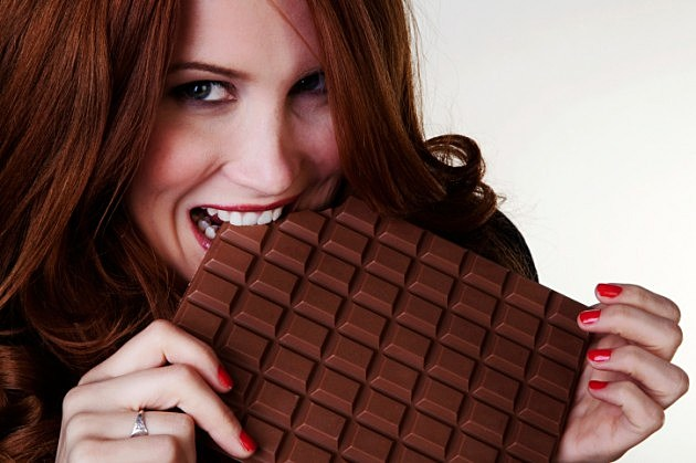 chocolate bar and woman